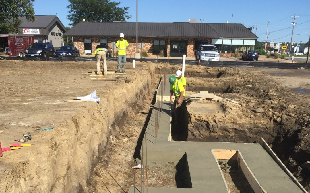 Frontage Road Multi-Tenant Space is Pouring Footings